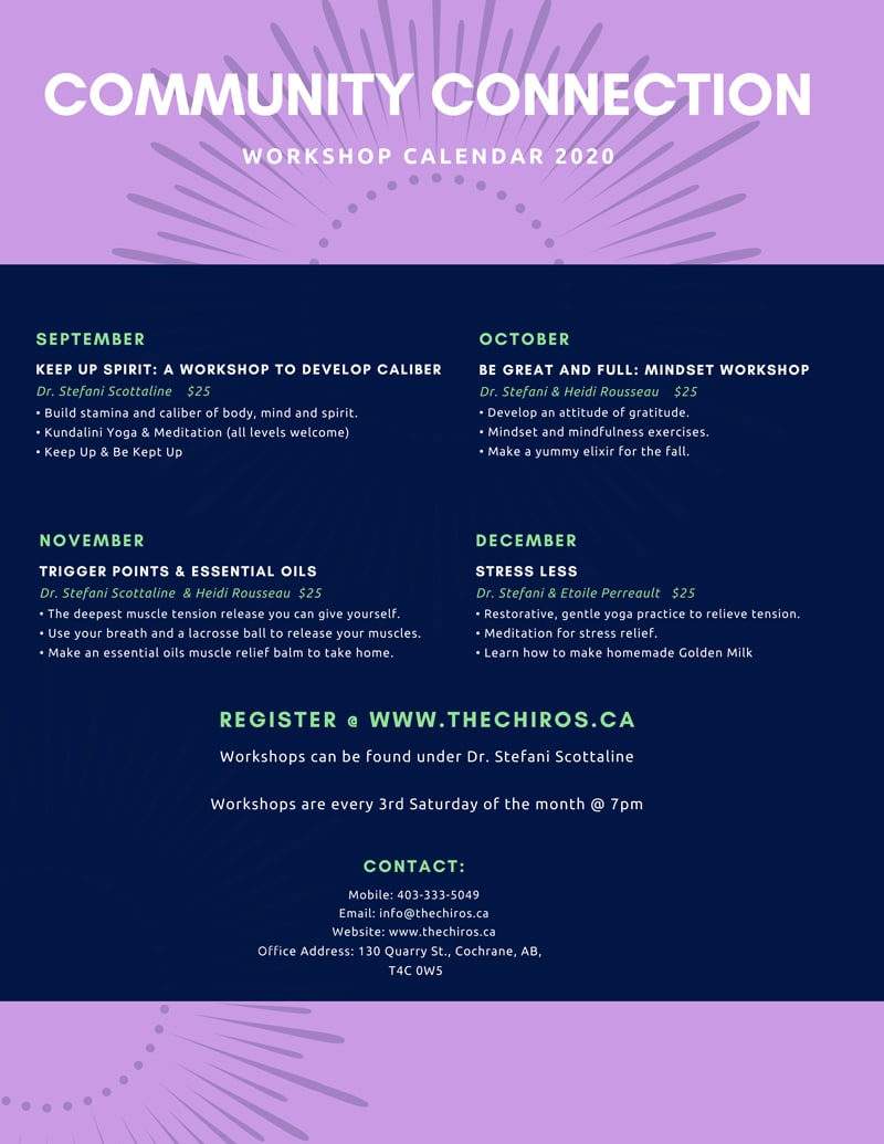 Community Connection Workshop Calendar at Cochrane Family Chiropractic